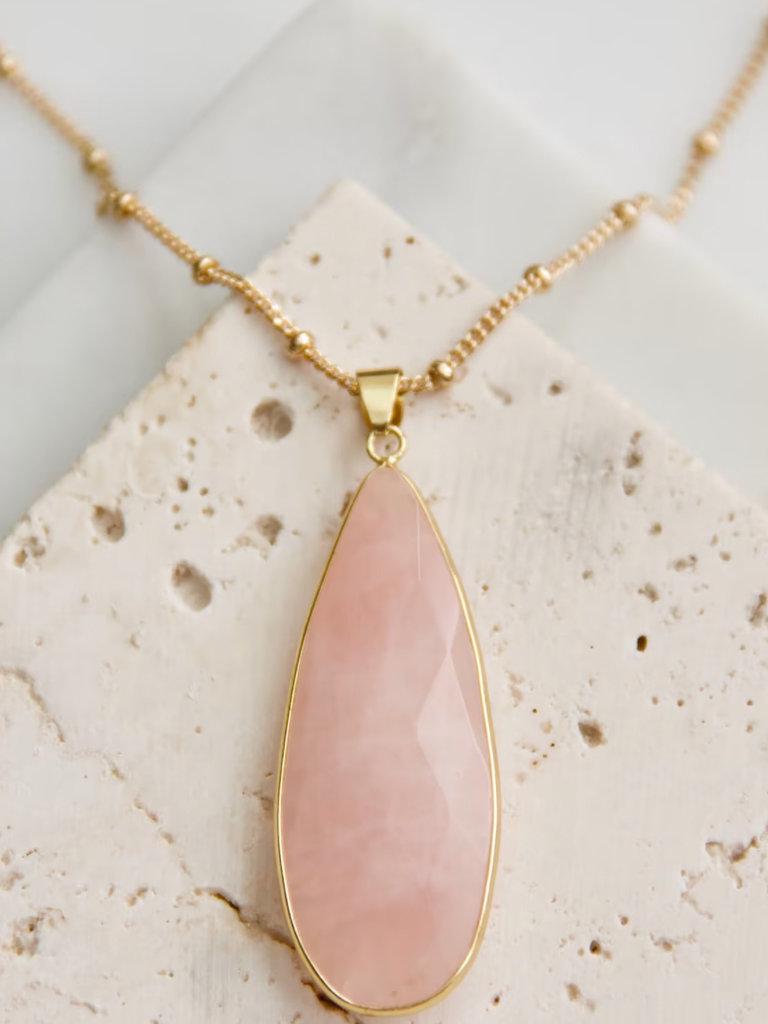"""Pink Quartz 28"""" Long Necklace"""