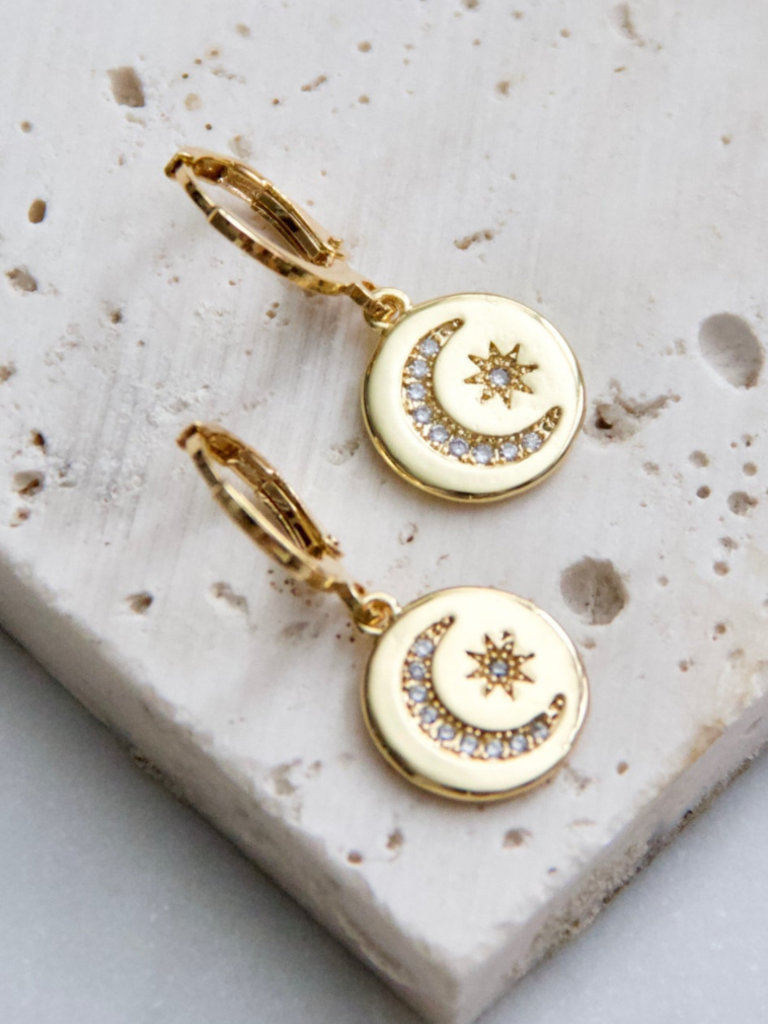 Moon And Stars Huggie Earrings