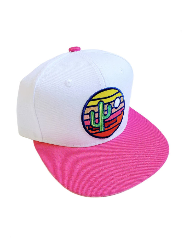 White & Pink Stained Glass Youth Hat Flat Brim