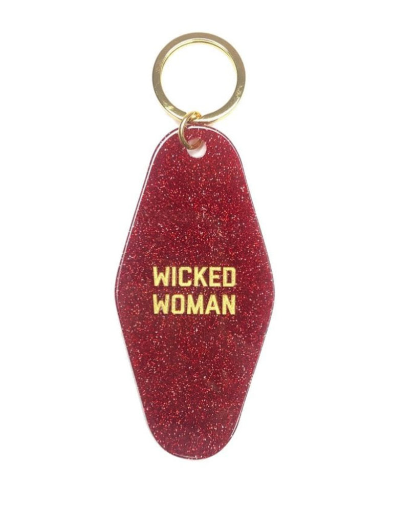 Red Glitter Wicked Woman Key Tag