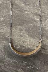 Hilary Finck Jewelry Hilary Finck Crescent Necklace 18K Bimetal Leaf SS Chain