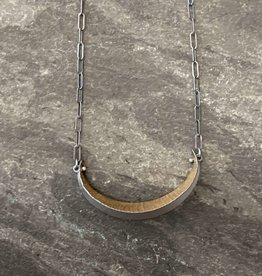 Hilary Finck Jewelry Hilary Finck Crescent Necklace 18K Bimetal Leaf SS Chain