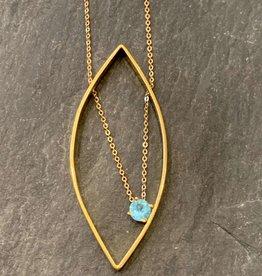 Vanessa Gade Vanessa Gade Medium Leaf Necklace with Blue Apatite