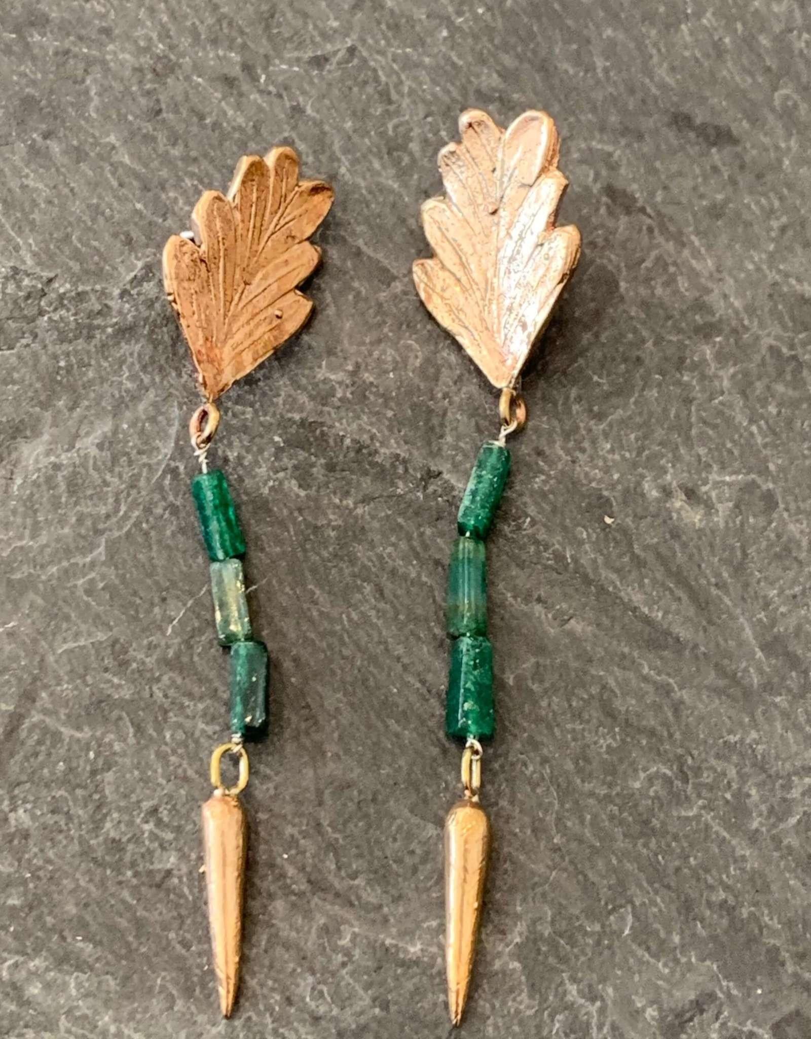 Gretchen Walker Jewelry Gretchen Walker Bronze Fern Jade Drop Earrings