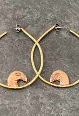 Gretchen Walker Jewelry Gretchen Walker Bird Head Hoops Brass Bronze