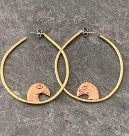 Gretchen Walker Jewelry Gretchen Walker Bird Head Hoops Brass Bronze