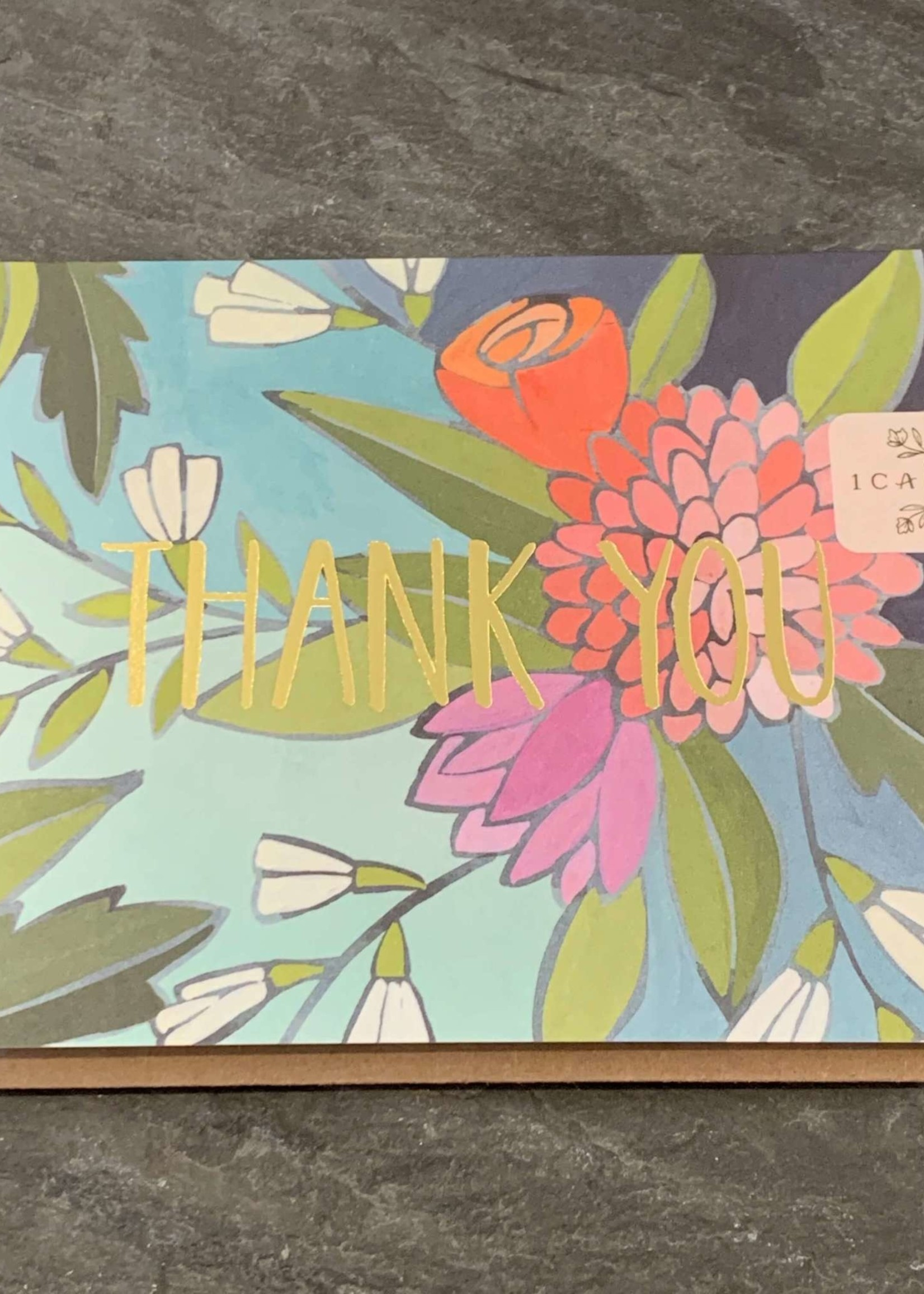 One Canoe Two Floral Foil Thank You Card
