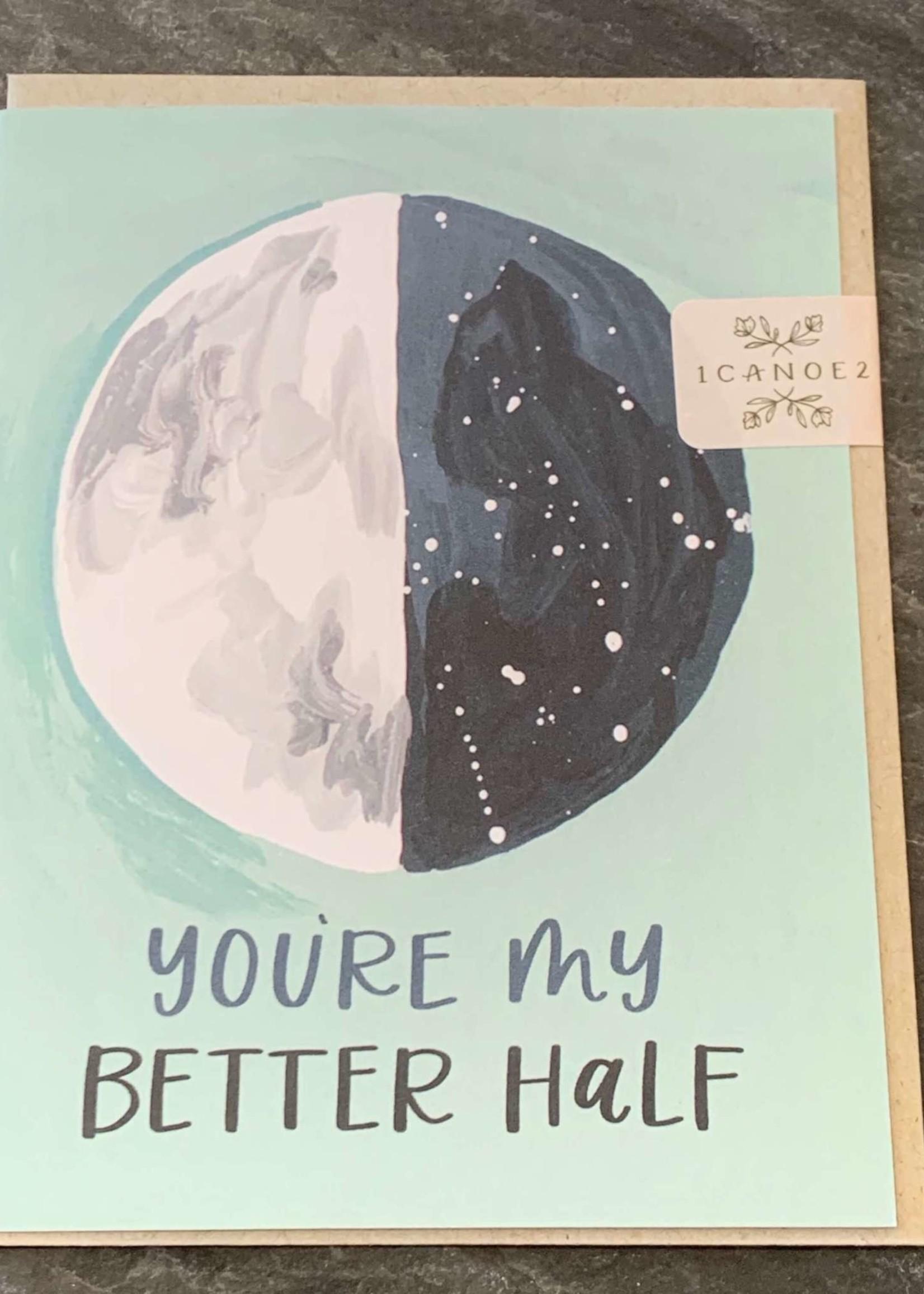 One Canoe Two Better Half Moon Love Card