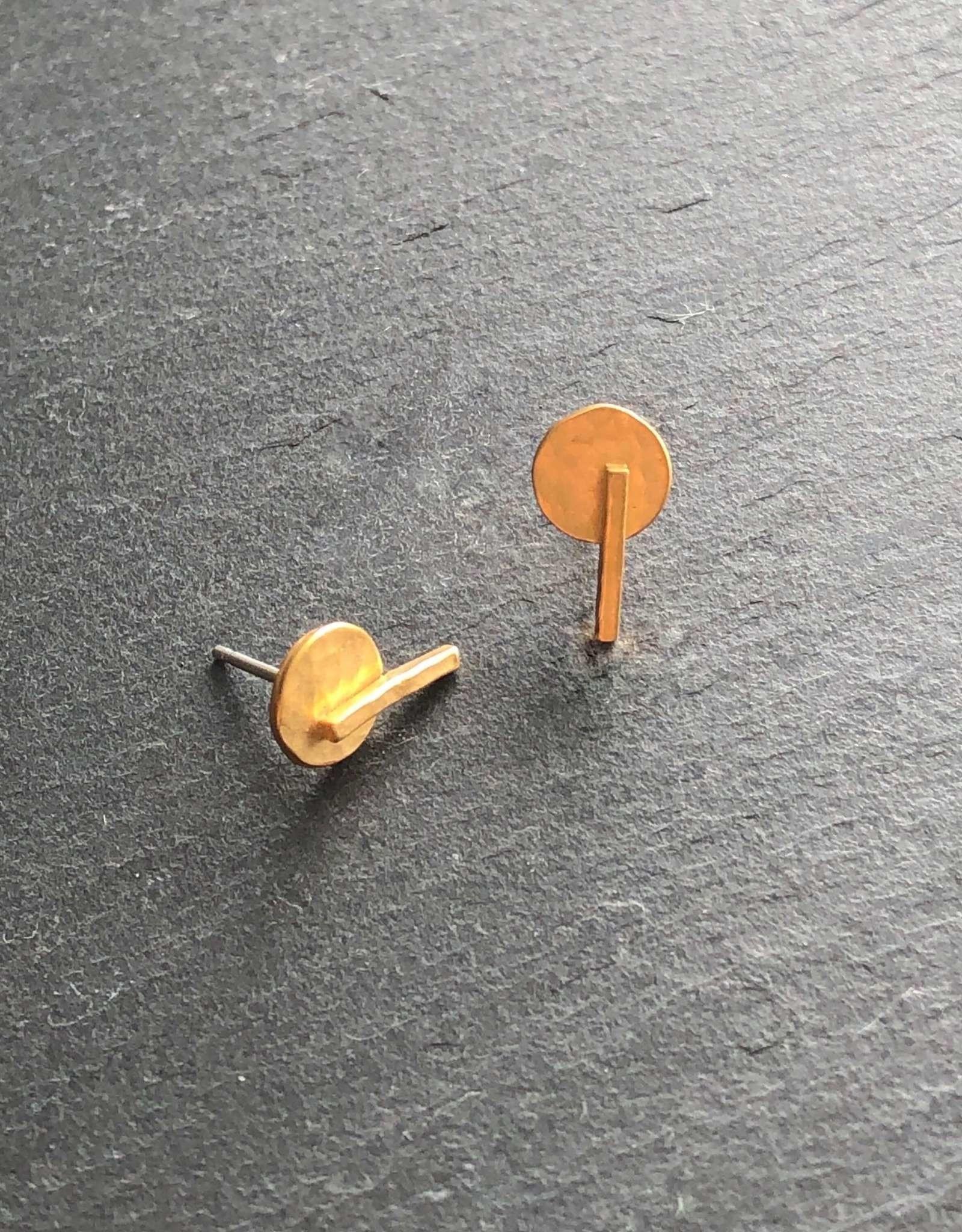 Denise Heffernan Denise Heffernan Disk Line Stud Earring 24k Gold Plate Vermiel