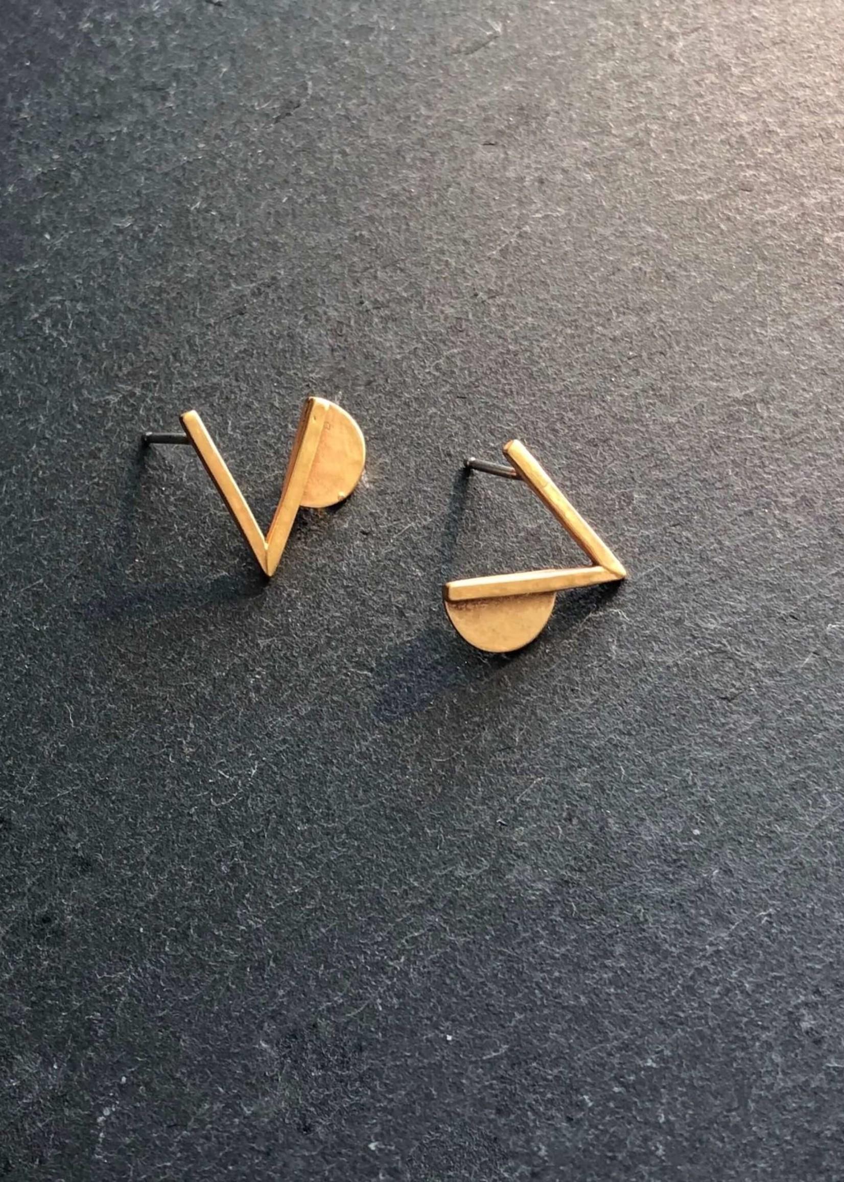 Denise Heffernan Verge Post Earring 24k Gold Plate Vermiel