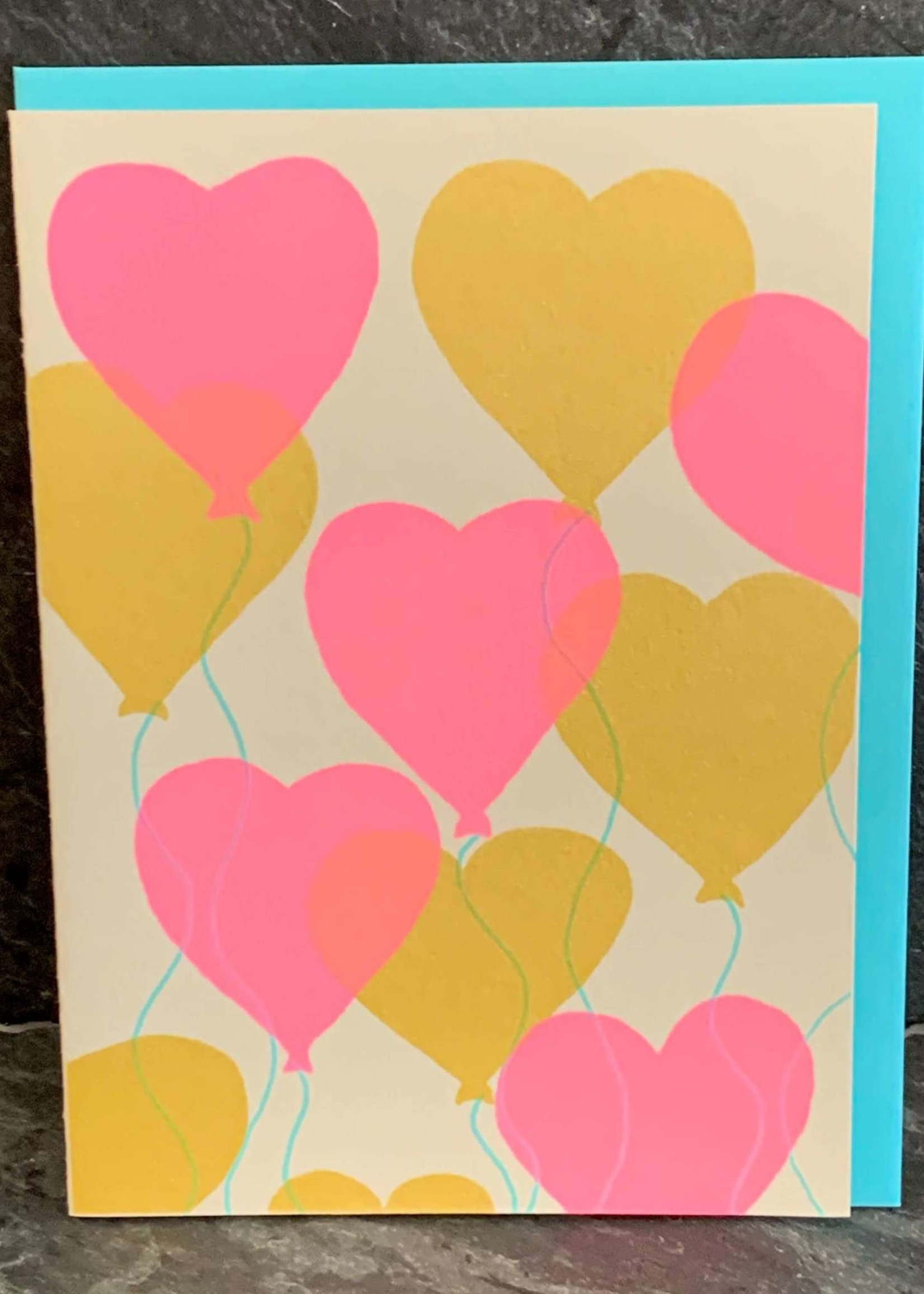 Gold Teeth Brooklyn Heart Balloons Anniversary/Love Card