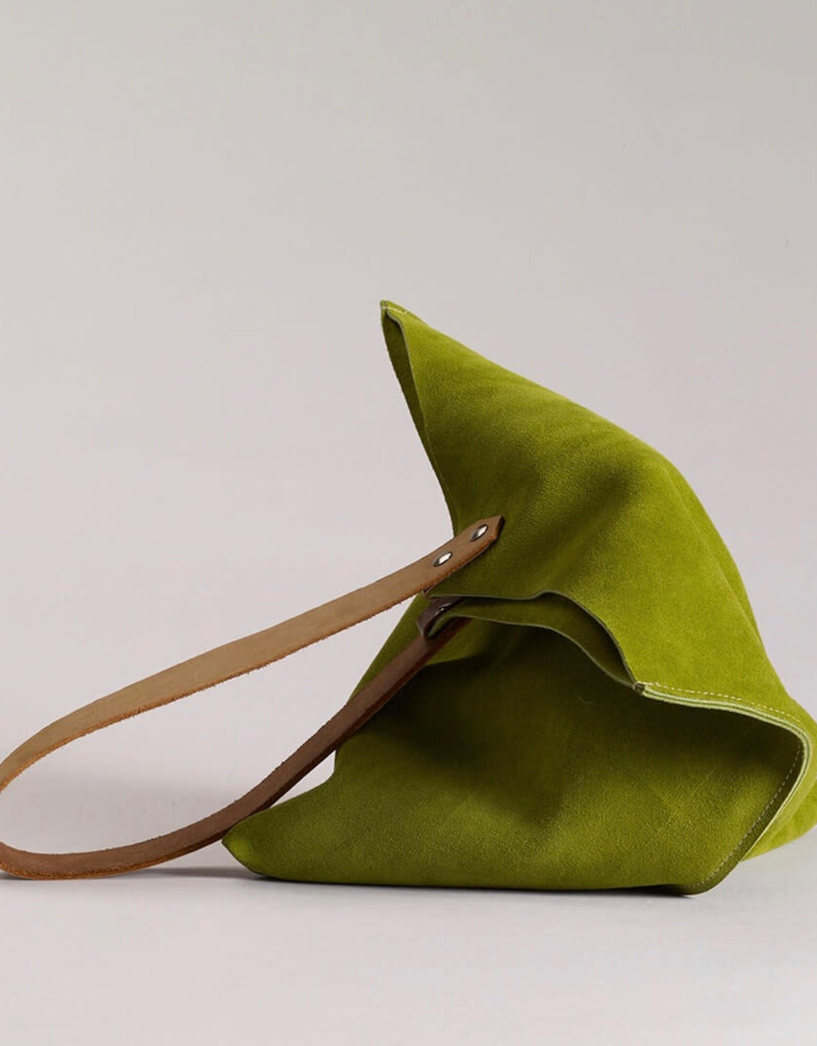 Scabby Robot Wedge Bag - Leaf Green Suede