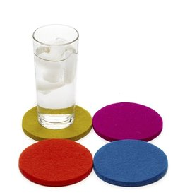 Graf&Lantz Graf Lantz Round Felt Coaster 4 Pack - Electric