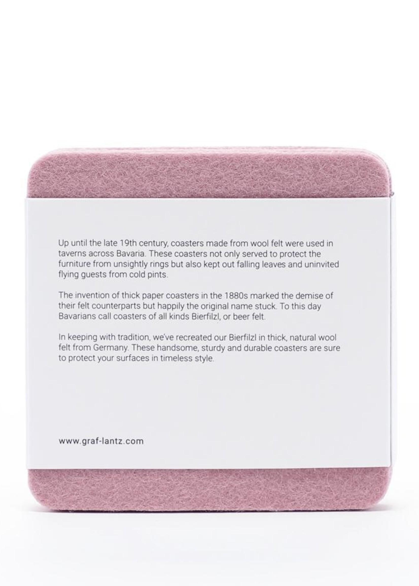 Graf&Lantz Bierfilzl Square Felt Coaster 4 Pack - Rouge