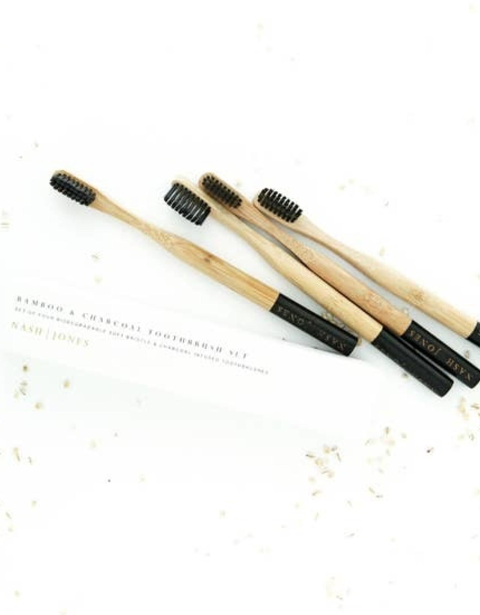 Nash Jones Nash Jones Set of 4 Bamboo Charcoal Toothbrushes