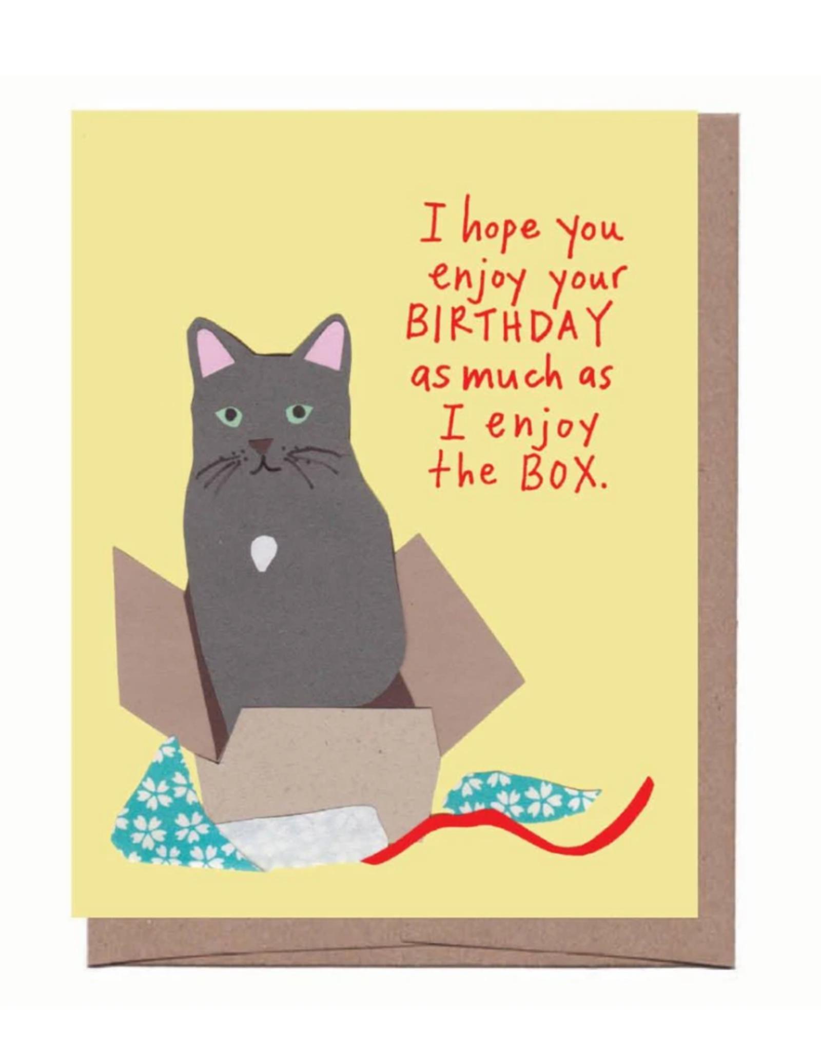 La Familia Green Cat In a Box Birthday Card