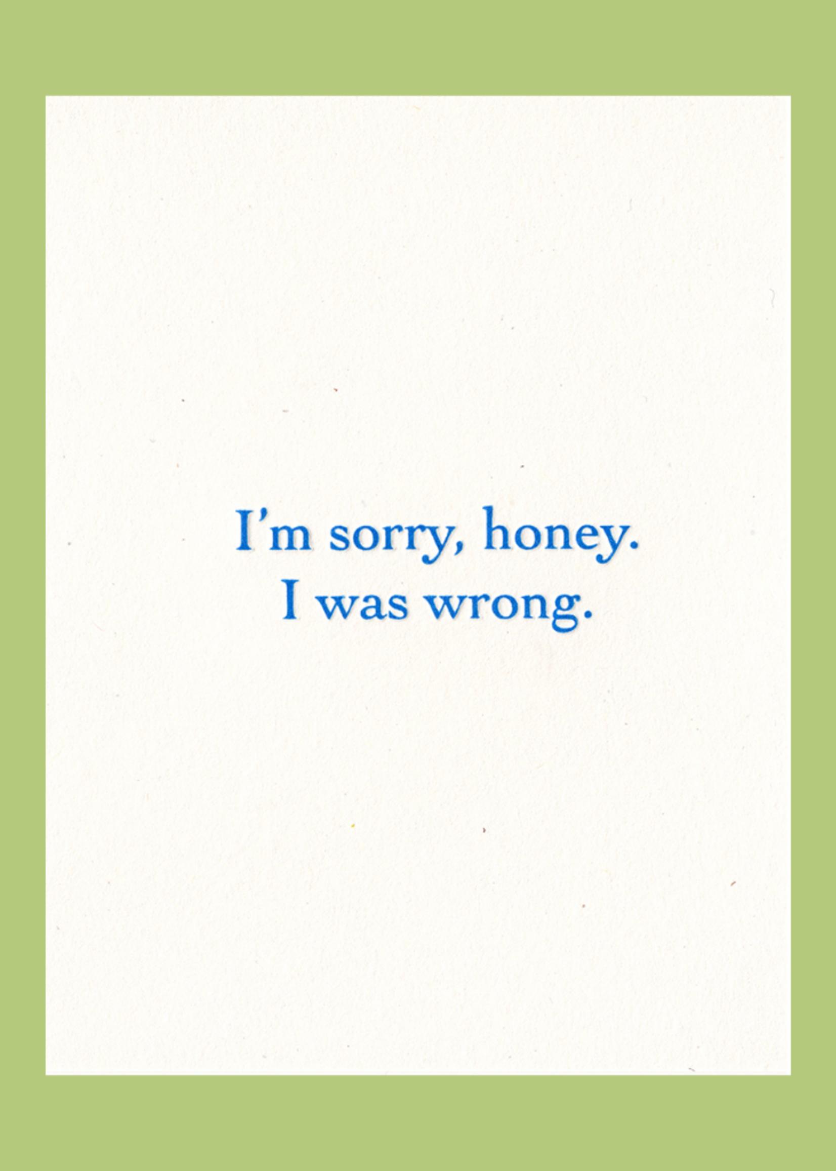 Lady Pilot Letterpress Sorry Honey Apology Card