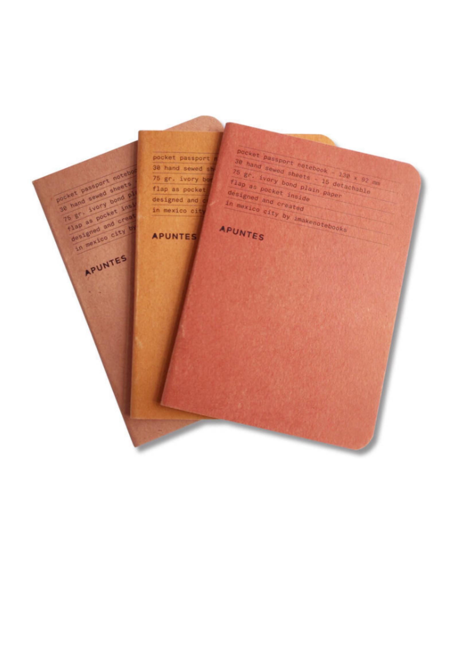 Apuntes Pocket Notebooks Jute en Rojos Set of 3