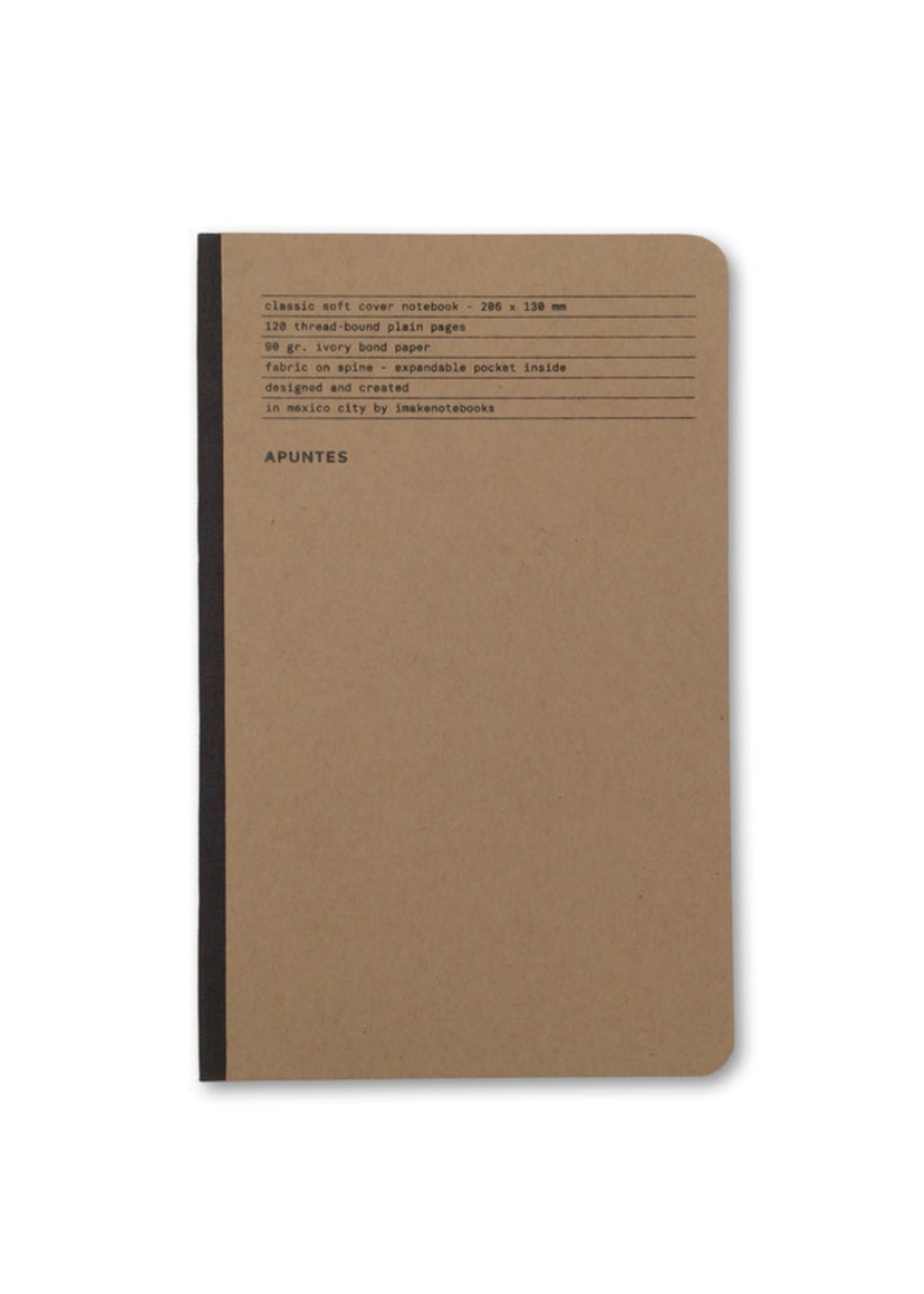 Apuntes Soft Cover Jute Lomo Gris Oscuro Notebook