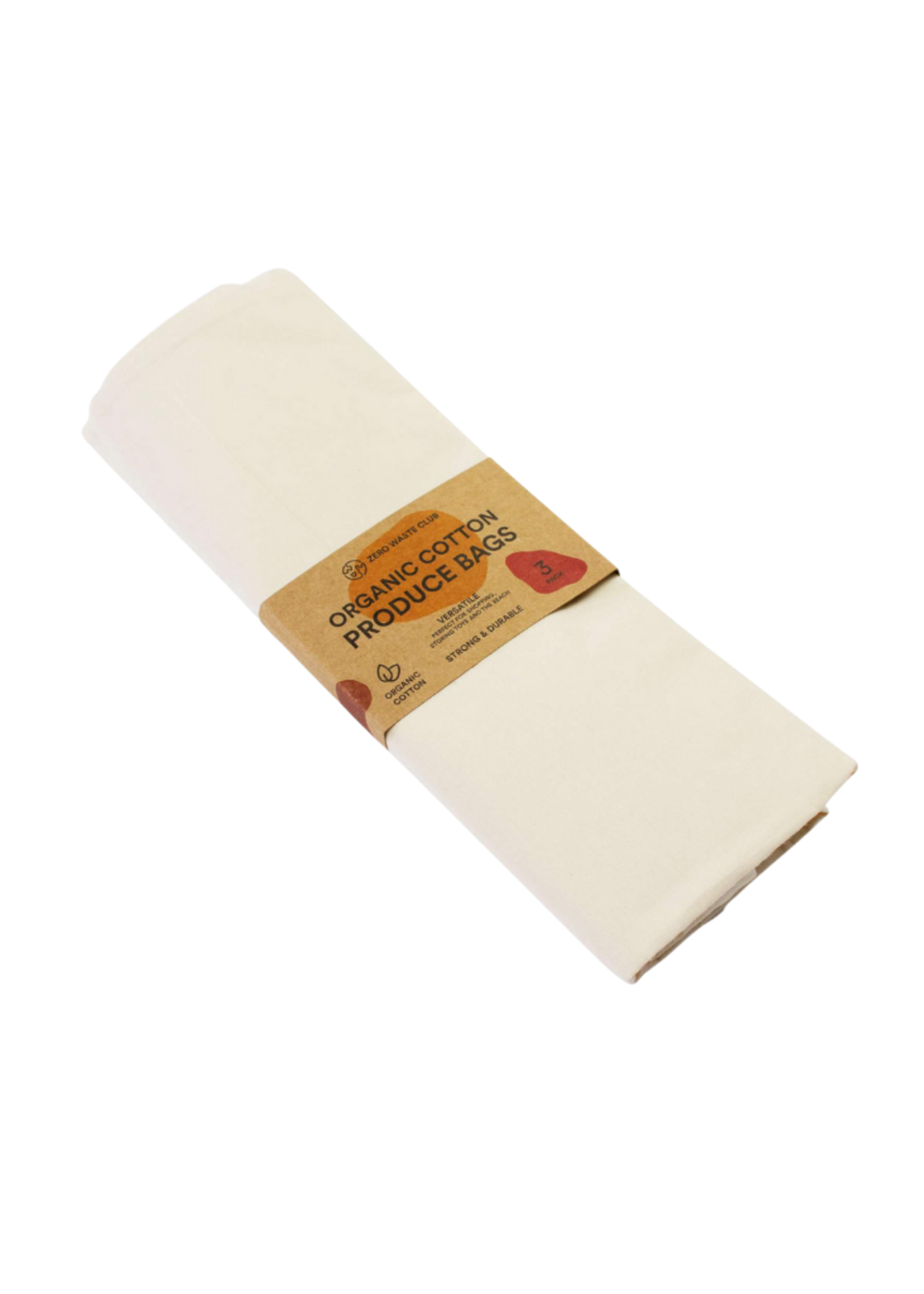 Zero Waste Club Organic Cotton Produce Bags - Pack of 3