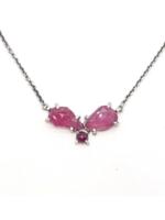 Joanna Gollberg Joanna Gollberg 3 Stone Cluster Necklace Ruby/Pink Sapphire