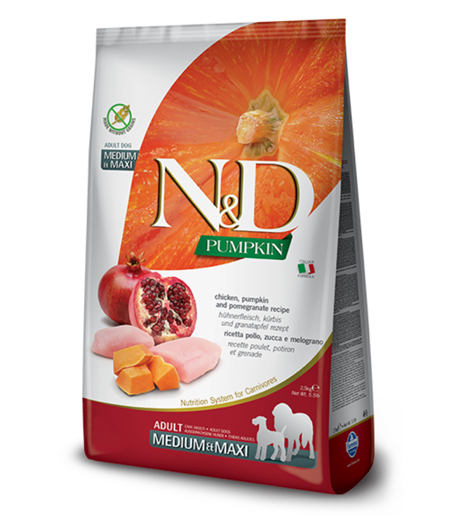 Farmina Farmina N&D PUMPKIN Grain Free Chicken & Pomegranate Med-Maxi Adult