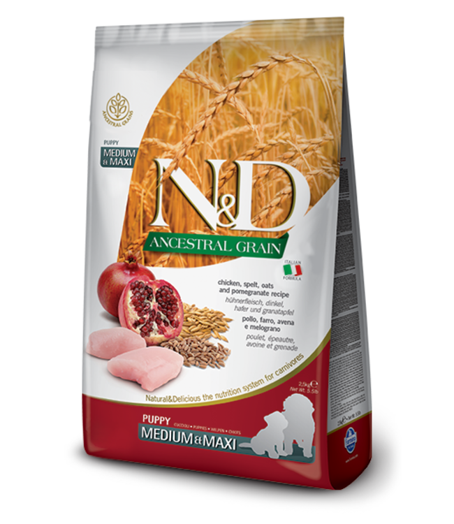 Farmina Farmina N&D ANCESTRAL GRAIN Chicken & Pomegranate Medium Maxi Puppy