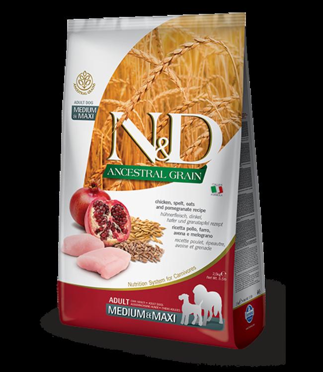 Farmina Farmina N&D ANCESTRAL GRAIN Chicken & Pomegranate Medium Maxi Adult 26.4 LB