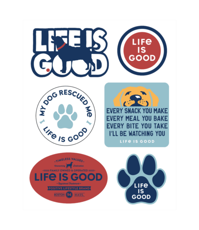 Life is good® Life is good® Products at The PawStand - Dog Pack Six-Pack Sticker Pack