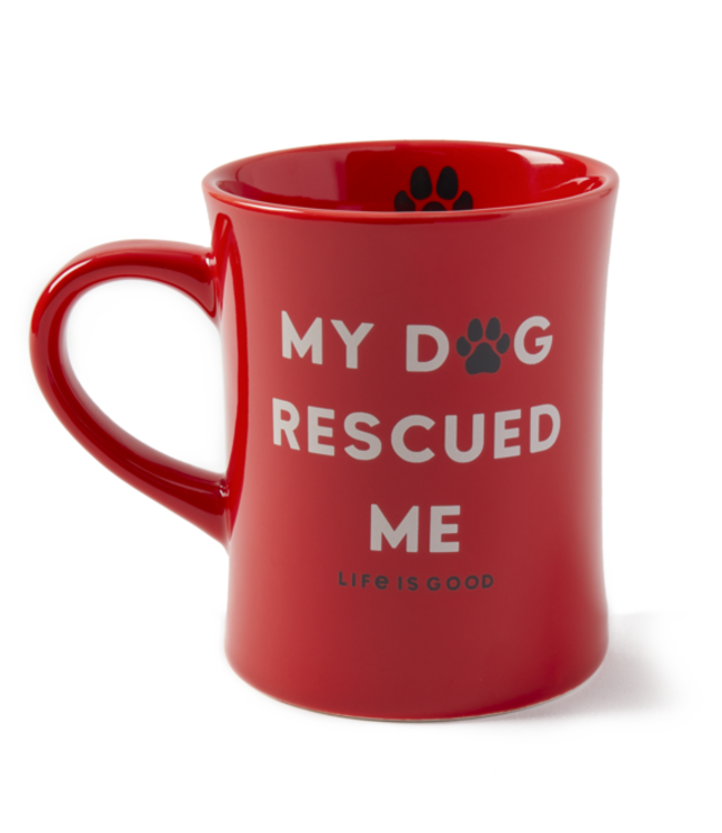 Life is good® Life is good® Products at The PawStand - My Dog Rescued Me Diner Mug