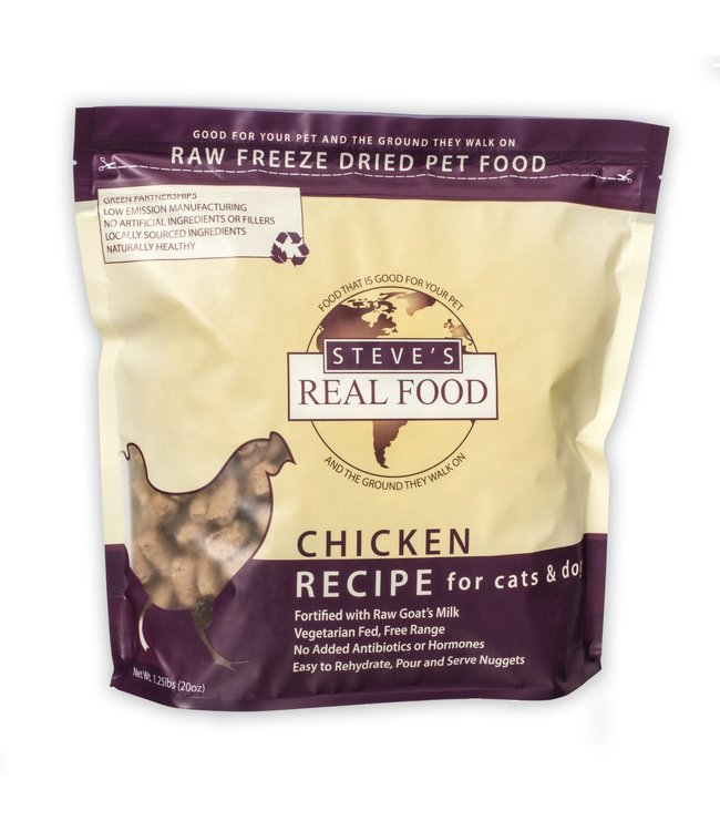 Steve's Real Food Steve's Real Food Freeze Dried Dog & Cat Food Nuggets Chicken Diet 1.25lb