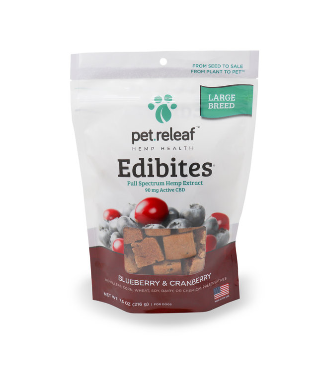 Pet Releaf Pet Releaf Edibites Crunchy Blueberry & Cranberry Large Breed 7.5 OZ