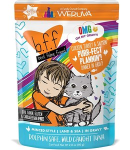 Weruva Weruva b.f.f. Purr-Fect Plannin'! Chicken, Turkey & Salmon Dinner in Gravy 2.8 oz Pouch