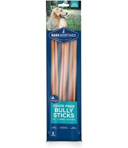 "Barkworthies Barkworthies Bully Stick Odor Free 3 Pack 12"""
