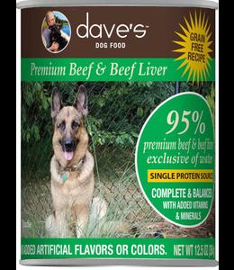 Dave's Pet Food Dave's Pet Food 95% Premium Beef & Beef Liver Grain-Free Recipe 12.5-oz