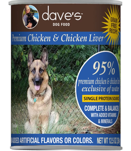 Dave's Pet Food Dave's Dog Premium 95% Chicken & Chicken Liver 12.5 OZ