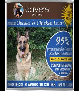 Dave's Pet Food Dave's Dog Premium 95% Chicken & Chicken Liver 12.5 OZ