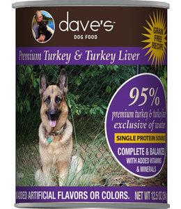 Dave's Pet Food Dave's 95% Premium Turkey & Turkey Liver Grain-Free 12.5 Oz
