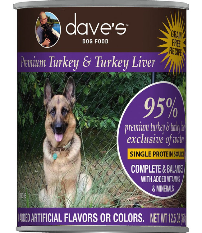 Dave's Pet Food Dave's 95% Premium Turkey & Turkey Liver Grain-Free 12.5 Oz