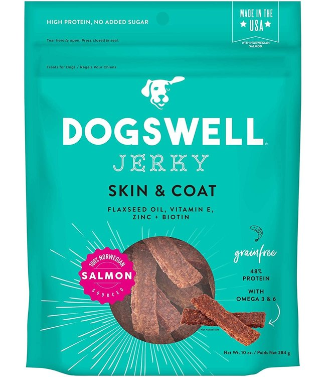 Dogswell Dogswell Jerky Skin & Coat Salmon 10 oz