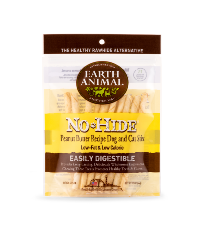 Earth Animal Earth Animal No Hide Peanut Butter Chew Stix 10 Pack