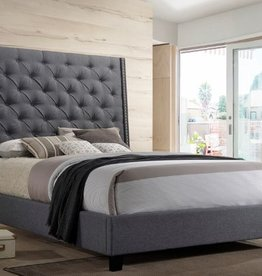 Crownmark Chantilly Gray Upholstered Bed - Queen Size