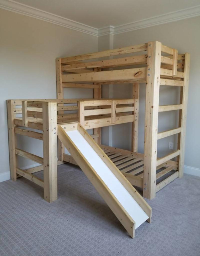 Triple Play Triple Bunk Bed W Slide Bargain Box And Bunks