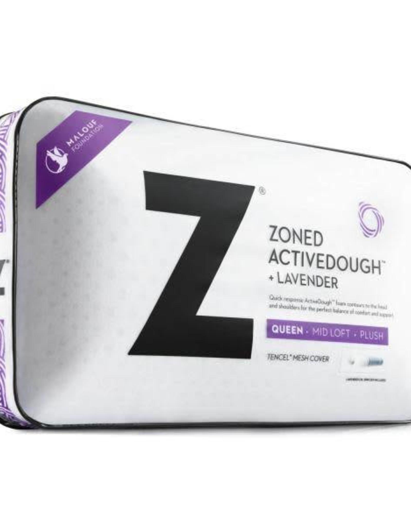 Malouf Z Zoned ActiveDough Lavender Pillow w/ Aromatherapy Spray - Mid Loft