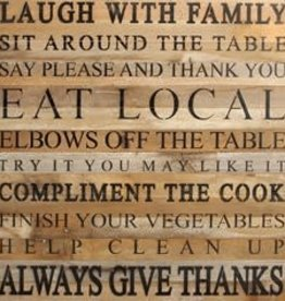 Second Nature Laugh with Family Sit around Table - large wood sign