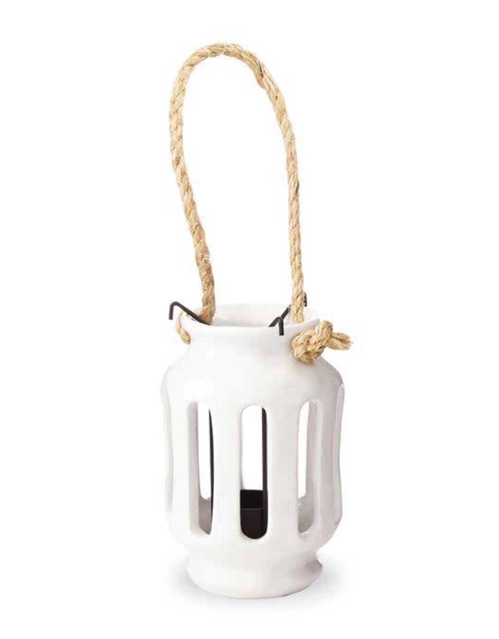 MudPie Large White Ceramic Lantern