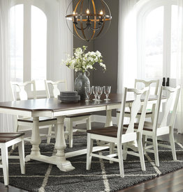 Whitewood GrovePark Black Chestnut/Shell Dining Table W/ Turned corners and 6 Chairs