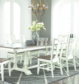 Whitewood Grovepark Collection Table W/ 6 Chairs, turned corners