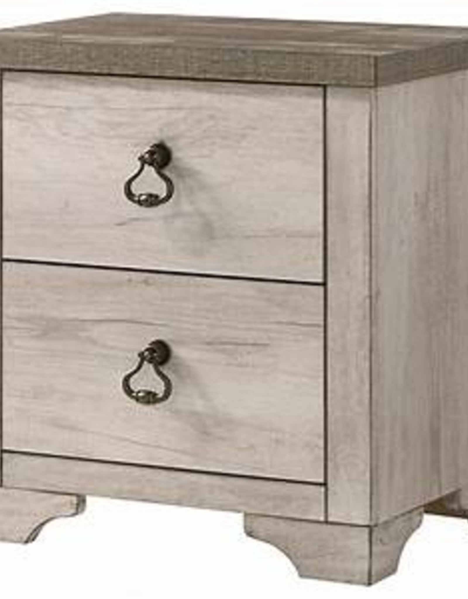 Crownmark Patterson Distressed White Nightstand