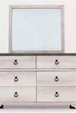 Crownmark Patterson Distressed White Dresser w/ Mirror
